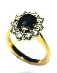 Princess diana Sapphire diamond cluster ring