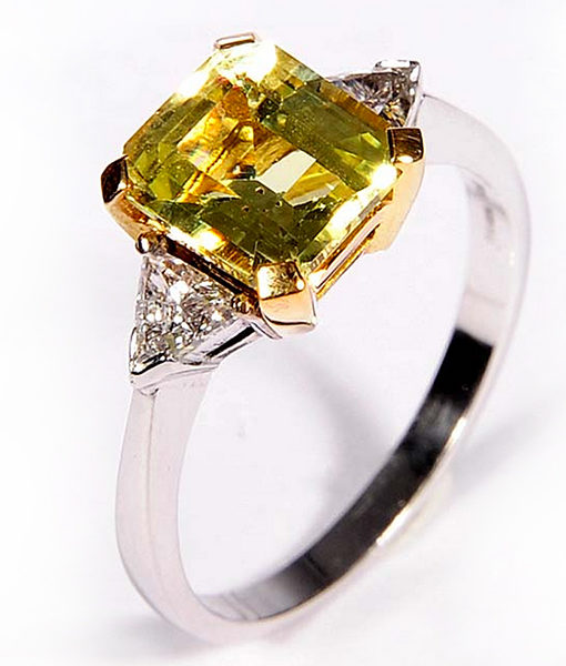 carat engagement trillion ring diamond yellow white triangle gold chrysoberyl rings gemstone and design